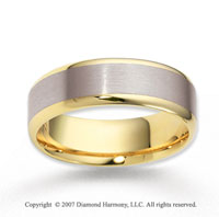 14k Two Tone Gold Finest Smooth Carved Wedding Band